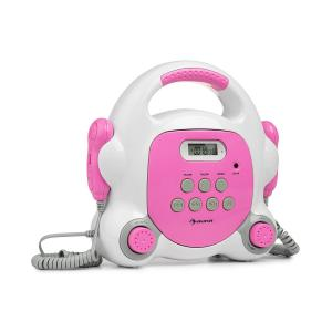 Pocket Rocker BT Karaoke-Player Sing-A-Long | Bluetooth-Funktion | 2 x Handmikrofon | USB-Port zur MP3-Wiedergabe | LCD-Display | AUX-Anschluss | Tragegriff | Strom- und Batteriebetrieb | pink