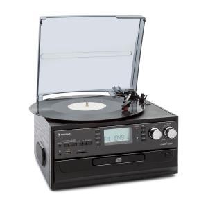 Oakland Retro-Stereoanlage | Bluetooth | Plattenspieler | Riemenantrieb mit 33/45/78 Umdrehungen pro Minute | CD-Player | FM Radiotuner | Kassettendeck | MP3-Aufnahme | USB-Port und SD-Slot | AUX-Eingang | Line-Ausgang | inkl. Fernbedienung