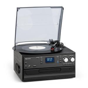 Oakland DAB Retro-Stereoanlage | DAB+/FM Radiotuner | Bluetooth | Plattenspieler | Riemenantrieb mit 33/45/78 Umdrehungen pro Minute | CD-Player | Kassettendeck | MP3-Aufnahme | USB-Port und SD-Slot | AUX-Eingang | Line-Ausgang | Fernbedienung