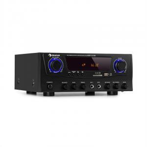 Amp-2 BT Hifi-Verstärker | Leistung: 2 x 50 Watt RMS | Bluetooth-Funktion | USB-Anschluss | 2 x Mikrofon-Eingang | SD/MMC-Kartenleser | FM-Radiotuner | AUX- und DVD-Eingang | Regler für Bässe, Höhen und Echo | LED-Display | schwarz