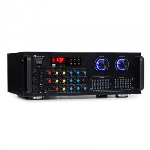Amp-Pro1 BT PA-Verstärker 2x50 W RMS BT USB SD 3x Mikro 2-Kanal-7-Band-Equalizer