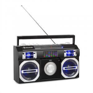 auna Oldschool Lecteur CD rétro Bluetooth USB MP3 FM antenne batterie noir