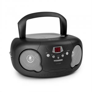 auna Black Bonbon Boombox Reproductor de CD Bluetooth FM AUX Pantalla led Negro