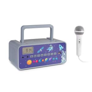 auna Kidsbox Space CD minicadena reproductor de CD BT UKW USB pantalla LED gris
