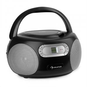 auna Haddaway CD minicadena reproductor de CD Bluetooth UKW AUX-IN pantalla LED negro