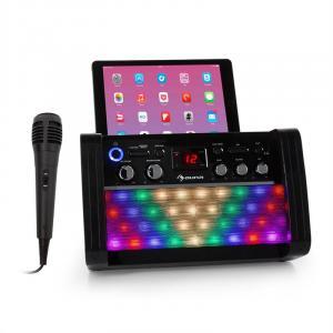 auna DiscoFever 2.0 sistema de karaoke, BT, Disco-LED, reproductor CD-/CD+G negro