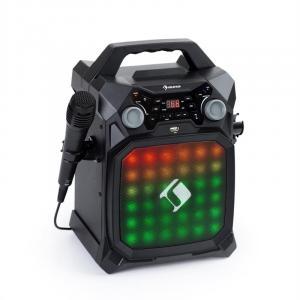 Rockstage LightShow Karaokeanlage | Bluetooth-Funktion | USB: Wiedergabe und Aufnahme | Multicolor-Lichtshow mit Equalizer | Akku-Betrieb | 2 x 6,3 mm Mikrofoneingang | Line-In/-Out | Smartphone- und Tablethalterung | inkl. Handmikrofon | schwarz