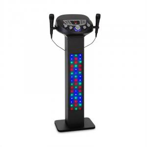 KaraBig LightUp Karaokeanlage | Bluetooth-Funktion | 2 x Handmikrofon | Multicolor LED-Lichtshow | Tablet-Halterung | LED-Display | USB-Port | 40 W  RMS /640 W peak power | Build-In Lautsprecher | Echo-Effekt | 2 x Mikrofonhalter | Line-Ein-/Ausgang