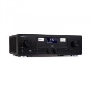 Northfork Retro-Radio | MP3-fähiger CD-Player | Bluetooth | DAB+/UKW-Radiotuner | VU-Meter | Wireless Charging für Smartphones | USB-Port zur Musikwiedergabe | LCD-Display | AUX-Eingang | Line-Eingang | inkl. Fernbedienung | schwarz