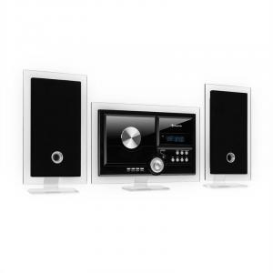 Stereo Sonic DAB+ Stereoanlage | Wandmontage | DAB+/UKW-Radiotuner | automatischer CD-Player | USB-Port für MP3-Dateien | Bluetooth | AUX-Eingang | LCD-Display | Schlaf-Funktion | Alarm-Funktion | Standfüße aus Acryl | inklusive Fernbedienung | schwarz