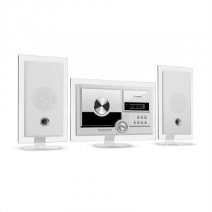 Stereo Sonic DAB+ Stereoanlage | Wandmontage | DAB+/UKW-Radiotuner | automatischer CD-Player | USB-Port für MP3-Dateien | Bluetooth | AUX-Eingang | LCD-Display | Schlaf-Funktion | Alarm-Funktion | Standfüße aus Acryl | inklusive Fernbedienung | weiß