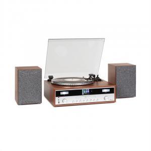 auna Birmingham système stéréo HiFi DAB+/FM BT Vinyle CD USB AUX-In bois