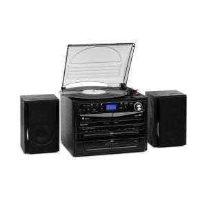 auna 388-DAB+ Impianto Stereo 20W max. Vinile CD Cassette BT FM/DAB+ USB SD nero