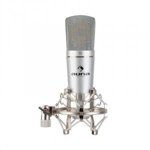 auna MIC-920 micrófono de condensador USB salida de auriculares Plug & Play plateado