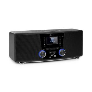 Stockton Micro Stereosystem | 20W max. (2x 5W RMS) | DAB+/UKW-Radiotuner | RDS-Funktion | Slot-In CD-Player | Bluetooth | USB-Port |  AUX-IN | OLED Display | X-Bass | EQ (Rock, Pop, Classic, Jazz) | Sleep-Timer | Weckfunktion | schwarz