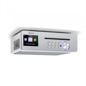 Silverstar Chef Küchenradio | Unterbauradio | 10W RMS / 20W max. | CD-Player | Bluetooth | Internet/DAB+/UKW | TFT Farbdisplay | USB | AUX-Eingang | App-Steuerung (Air Music Control) | Sleeptimer | Weckfunktion | Holzoptik | weiß