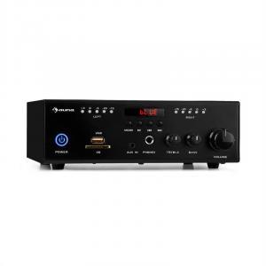 Amp4 BT SE Mini-Stereo-Verstärker | Leistung: 2 x 50 Watt RMS | Bluetooth-Funktion | USB-Anschluss | SD/MMC-Kartenleser | 6,3-mm-Kopfhörerausgang | AUX- und Line-In-Eingang | Regler für Bässe und Höhen | LED-Display | inkl. Fernbedienung | schwarz