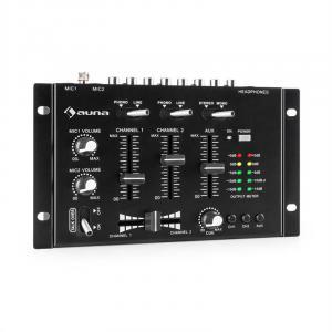 auna TMX-2211 MKII Consola para DJ 3/2 Canales Crossfader Talkover para montar en rack negro