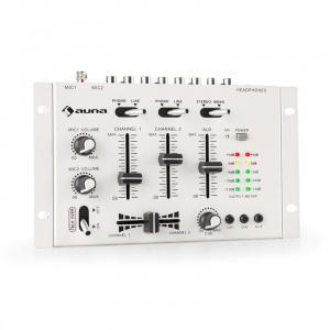 auna TMX-2211 MKII Consola para DJ 3/2 Canales Crossfader Talkover Cue para montar en rack blanco