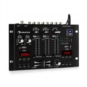 auna DJ-22BT MKII Consola de mezcla DJ 3/2 Canales BT 2xUSB montaje en rack negro