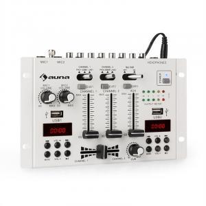 auna DJ-22BT MKII Consola de mezcla DJ 3/2 Canales BT 2xUSB montaje en rack blanco