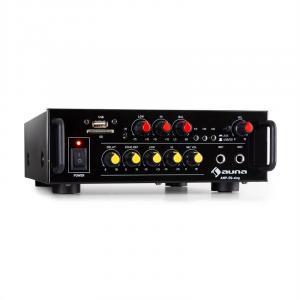 Amp EQ BT HiFi-Karaoke-Verstärker | 2 x 30 Watt RMS | Bluetooth |  USB-Port | SD-Slot | AUX-Eingang | Line-Ausgang | 2 x Mikrofon-Eingang | Delay- und Echo-Effekt | inkl. Fernbedienung