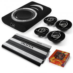 "Silverstone 4.1 Car-Hifi Set 6-Kanal MOSFET Car HiFi Endstufe, 30cm (12"") Subwoofer 600W max., 4 Auto-Lautsprecher, Kabelset"