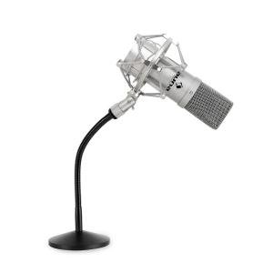 Studio Microphone Set w/ USB Mic in Silver & Mic Table Stand