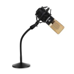 Studio Mikrofon-Set mit MIC-900BG USB Mikrofon in gold/schwarz & Mikrofontischstativ