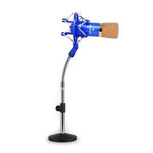 Studio Mikrofon-Set mit CM001BG XLR Kondensator Mikrofon blau/gold & Mikrofontischstativ