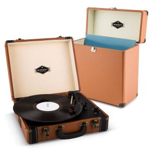 auna Jerry Lee Record Collector Set Tourne-disques rétro Valise vinyles - marron