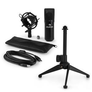 auna MIC-900B USB kit micro V1 | micro à condensateur noir | trépied de table