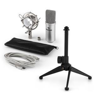auna MIC-900S USB Set Microfono V1 | Condensatore-Microfono argento | Stativo
