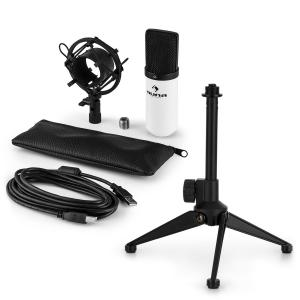MIC-900WH USB Microphone Set V1 | White Condenser Microphone | Tabletop Stand