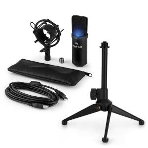 MIC-900B-LED USB Microphone Set V1 | Black Condenser Microphone Tabletop Stand