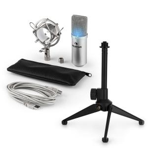 MIC-900S-LED USB Microphone Set V1 | Silver Condenser Microphone Tabletop Stand