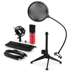 MIC-900RD-LED USB Mikrofonset V2 | 3-teiliges Mikrofon-Set mit Tisch-Stativ