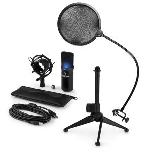 auna MIC-900B-LED USB kit micro V2micro à condensateur anti pop trépied