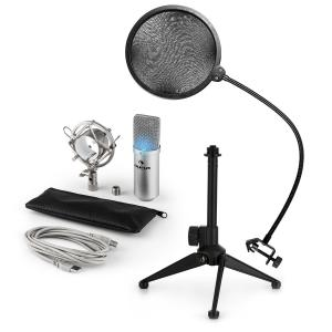 MIC-900S-LED USB Microphone Set V2 | 3-Piece Microphone Set with Tabletop Stand