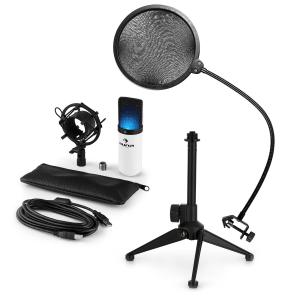 MIC-900WH-LED USB Microphone Set V2 | 3-Piece Microphone Set with Tabletop Stand