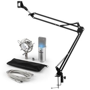 MIC-900S-LED USB Microphone Set V3 Condenser Microphone + Microphone Arm Cardioid Silver