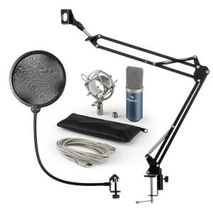 auna MIC-900BL Set microphone V4 USB condensateur filtre anti pop perchette bleu