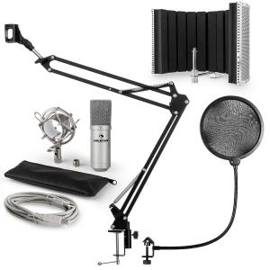 MIC-900S USB Microphone Set V5 Condenser Microphone Pop-Protection Microphone screen Microphone arm silver
