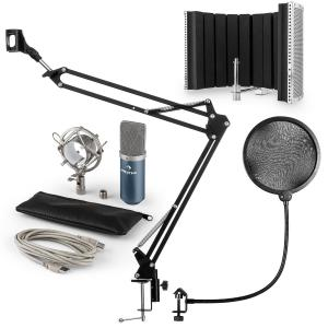 MIC-900BL USB Microphone Set V3 Condenser Pop Filter Microphone + Microphone Shield Blue