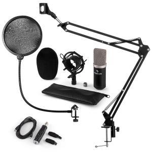 CM003 Juego de micrófono V4 Micrófono de condensador Convertidor USB Brazo para micrófono negro