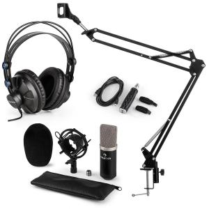 CM003 Microphone Set V3 Condenser Microphone USB Converter Headphones Black