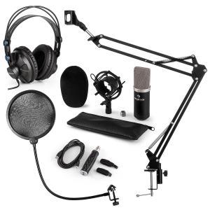 CM003 Microphone Set V4 Condenser Microphone USB Converter Headphones black