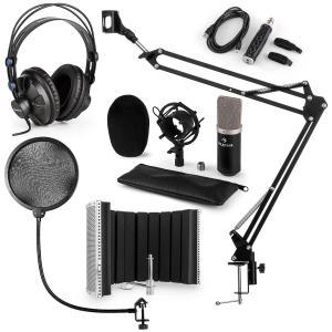una CM003 set de micrófono V5 micrófono condensador convertidor USB auriculares negro