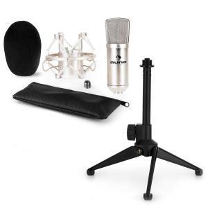 CM001S Microphone Set V1 - Silver Studio Microphone with Shock Mount & Tabletop Stand