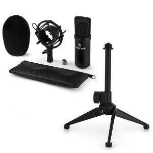 CM001B Microphone Set V1 - Black Studio Microphone with Shock Mount & Tabletop Stand